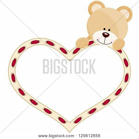Scalable vectorial image representing a teddy bear with heart, isolated on white. EPS10.