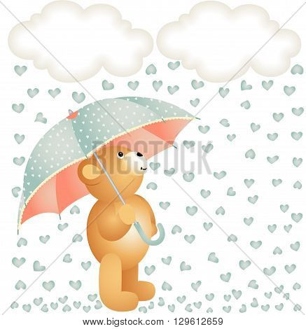 Scalable vectorial image representing a teddy bear with umbrella under the rain of hearts, isolated on white.