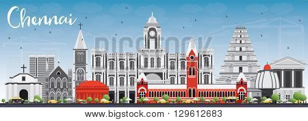 Chennai Skyline with Gray Landmarks and Blue Sky. Vector Illustration. Business Travel and Tourism Concept with Historic Buildings. Image for Presentation Banner Placard and Web Site.