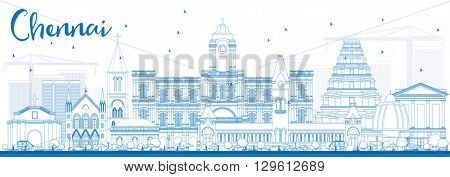 Outline Chennai Skyline with Blue Landmarks. Vector Illustration. Business Travel and Tourism Concept with Historic Buildings. Image for Presentation Banner Placard and Web Site.