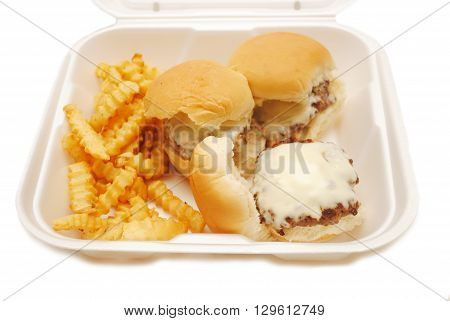Cheeseburger Sliders with Fries in a Takeout Container
