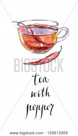 Mix bio black tea with chili pepper and raw red chilies hand drawn - watercolor Illustration