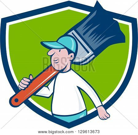 Illustration of a house painter walking carrying giant paintbrush on shoulder viewed from the side set inside shield crest on isolated background done in cartoon style.