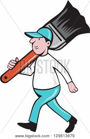 Illustration of a house painter walking carrying giant paintbrush on shoulder viewed from the side set on isolated white background done in cartoon style.
