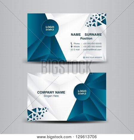 business card template vector illustrationblue polygon background flyer design name card template