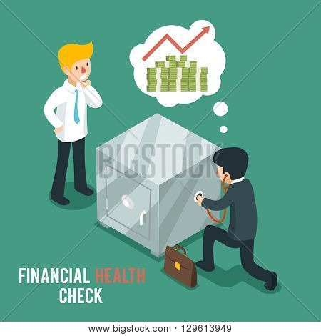 Financial health check isometric 3d vector. Businessmen listen safe using stethoscope. Finance check, stethoscope and businessman, business financial health, money financial health illustration