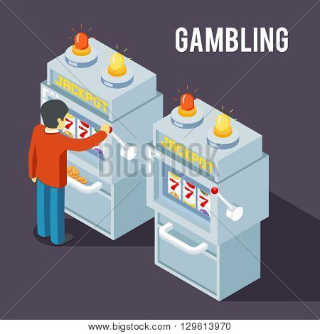 Casino slot machine. Using slot fruit jackpot machine vector isometric 3d illustration. Gambler play slot machine, game slot machine, jackpot slot machine casino