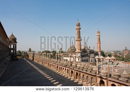 Asfi mosque view from roof of the Bara Imambara, Lucknow, India. Mughal architecture.