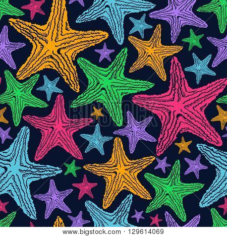 Seamless pattern of colorful starfish on a deep blue background.