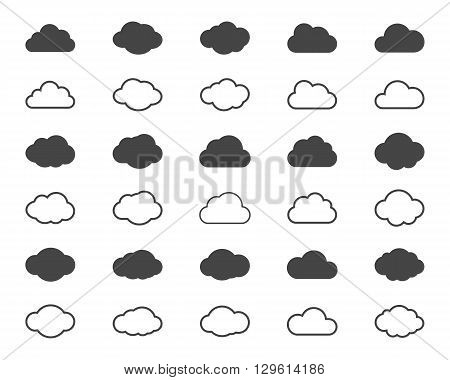 Clouds shapes or cloud black icons set. Vector elements for weather forecast and cloud storage applications. Web weather, internet cloudscape, upload data, server communication cloud illustration
