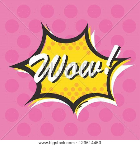 Pop art style Wow isolated vector sticker illustration