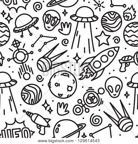 Life in space ufo seamless vector pattern black and white