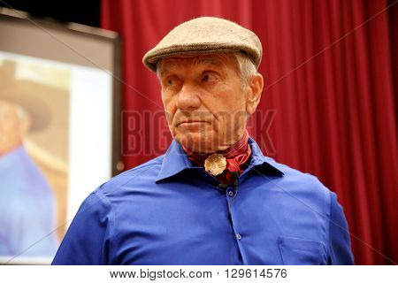 10 May 2016. Portrait of the american horse specialist Monty Roberts aka 'The horse whisperer'. 81 years old Monty Roberts portrayed at an instructor event in Mezohegyes Hungary on 10 May 2016