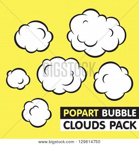 Pop art graphic bubble clouds vector set