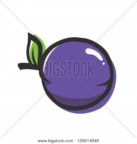 Purple plum isolated vector illustration in popart style