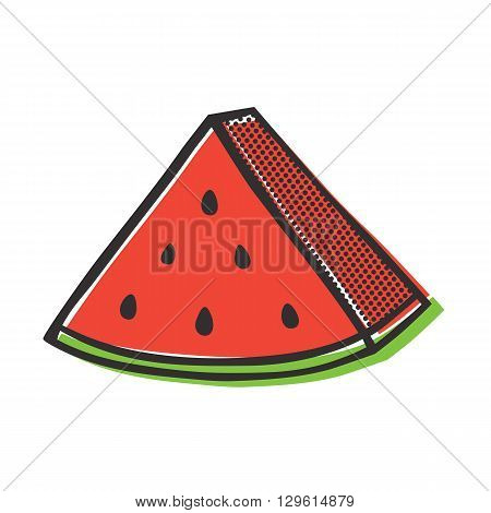 Red watermelon isolated vector illustration in popart style