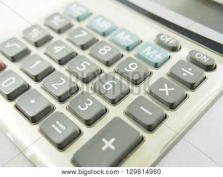 Old calculator gray machine for counting maths number