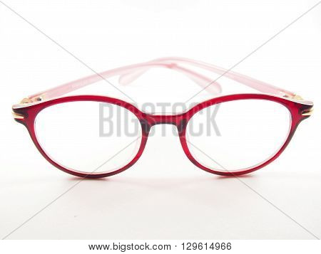Red glasses frame modern style for eyesight fashion on white background