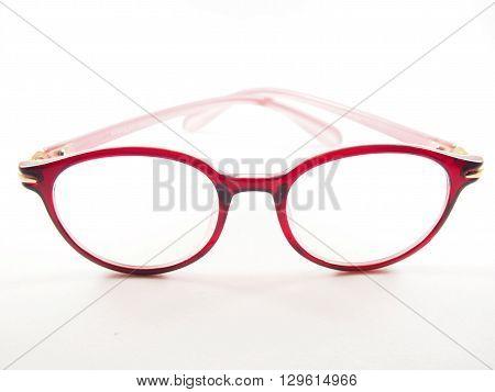 Red glasses frame modern style for eyesight fashion on white background