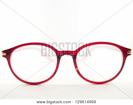 Round glasses frame for eyesight red modern fashion on white background