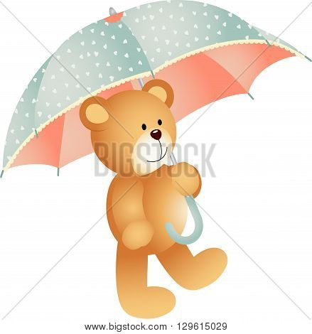 Scalable vectorial image representing a Teddy bear with umbrella, isolated on white.