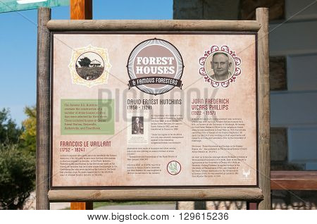 KNYSNA SOUTH AFRICA - MARCH 5 2016: An information board at Diepwalle on foresters who played a big role in the forestry industry in the Knysna Forest