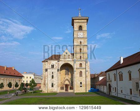 St. Michael Roman Catholic Cathedral inside Carolina Citadel of Alba Iulia, Romania