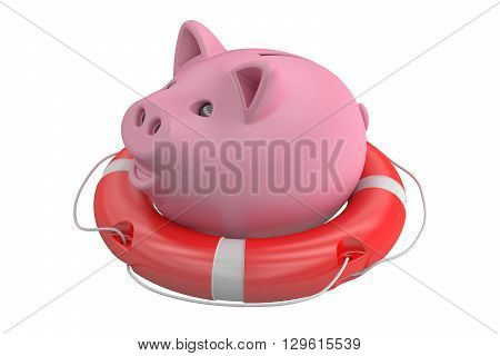 Piggy bank with lifebuoy 3D rendering isolated on white background
