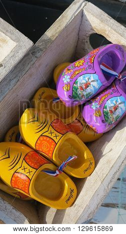 Typical Dutch clogs on sale on the flower market in Amsterdam Netherlands
