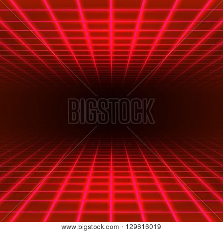 Red dimensional grid space tunnel floor and ceiling