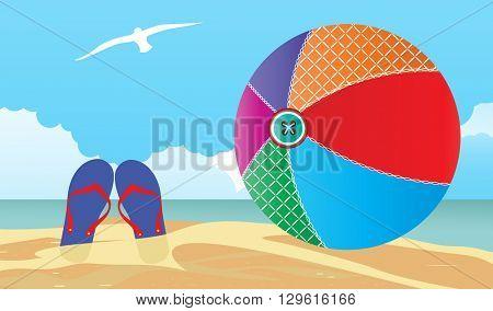 summer scene Flipflops and beachball in the sand