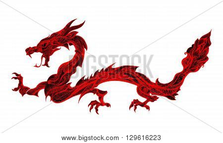 Doodle Red Dragon Isolated on White Background