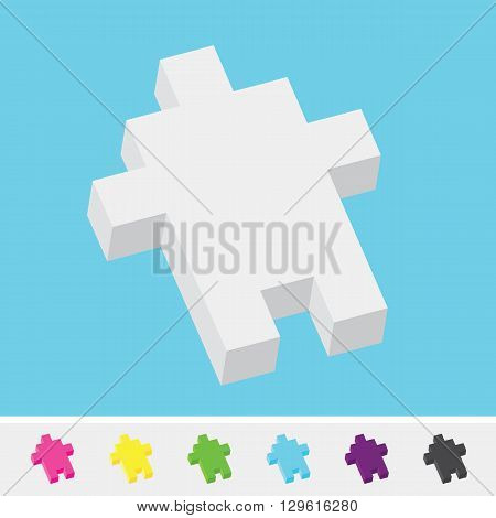 Pixel art style isometric cursor arrow vector set