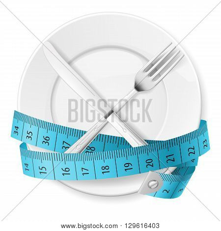 Plate with Blue Measuring Tape and Crossed Fok and Knife