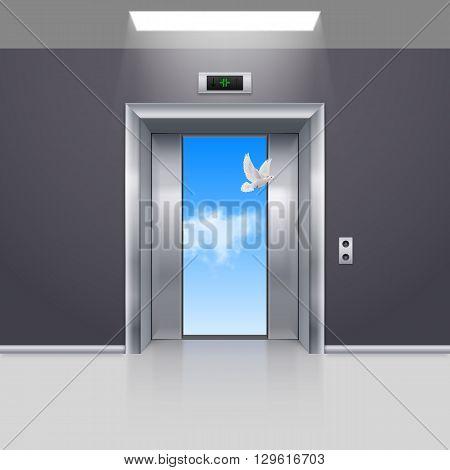 Half Open Chrome Metal Elevator Door and White Dove