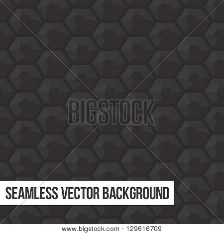 Grey and black honeycomb seamless vector graphic background