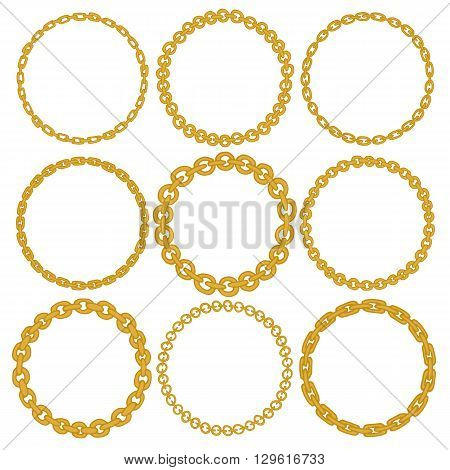 Set of 9 decorative circle border frames. Gold Chain round wreaths for use as a decorative element, for logo or emblem. Circle design for round frames. These pattern brush you can find in my portfolio