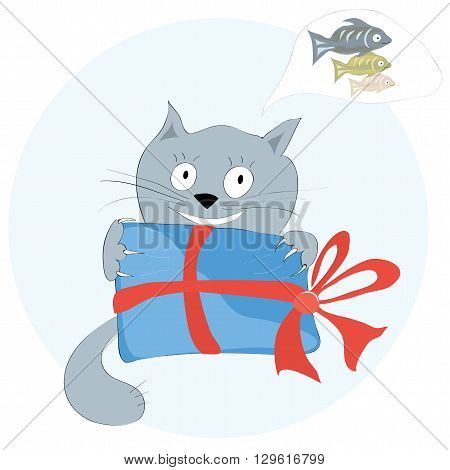 vector cat with a celebratory gift he could imagine is inside