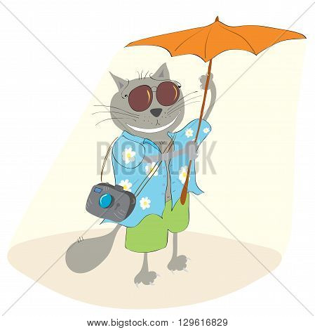 Vector fun cat wearing a shirt with flowers travels on a sunny summer day