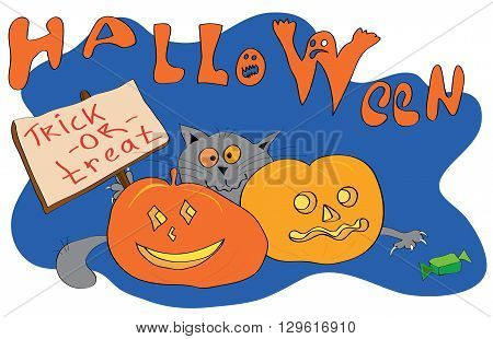 Vector Cat hiding behind pumpkins with a sign trick or treat and reaches for candy on the background of the inscription Halloween