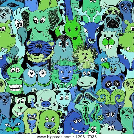 Green blue bright psychedelic seamless pattern with funny animals. Abstract graphic animal background.