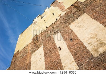 Old Brick Wall Of Abandoned House