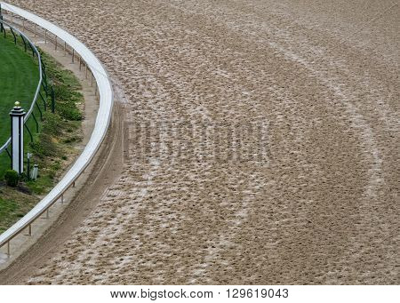 Curve of Dirt Track with interior grass track