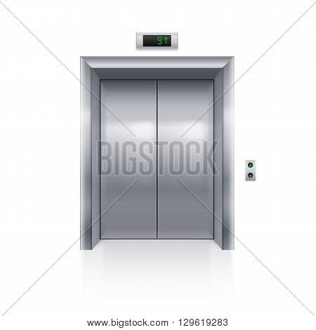 Realistic Metal Modern Elevator with Closed Door on White Background
