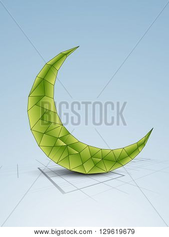 Creative Green Crescent Moon on shiny blue background, Can be used as pamphlet, banner or flyer design for Islamic Festivals celebration.