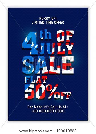 American Flag colors text 4th of July Sale, Flat 50% Discount, Limited Time Sale. Creative illustration for American Independence Day.