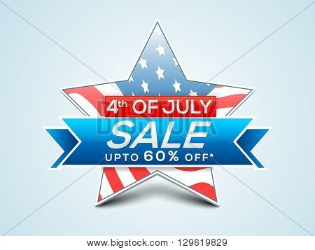 4th of July Sale, Sale Tag, Up to 60% Off. Creative vector illustration with star in American Flag colors for Independence Day concept.