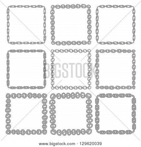 Set of 9 decorative square iron border frames. Silver square wreaths for use as a decorative element, for logo, emblem. Square pattern, square border. These pattern brush you can find in my portfolio