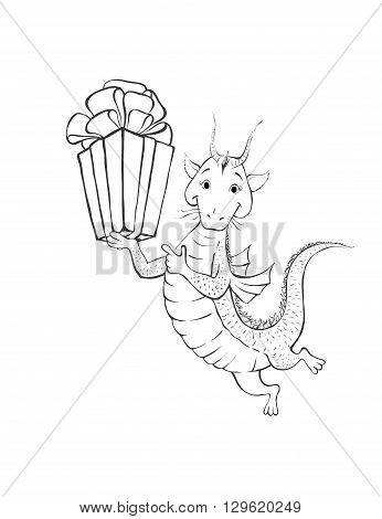 Dragon with gift. Coloring page. Cartoon children dragon with gift. Contour of cute dragon. Children coloring. Hand drawn contour of cute gragon.