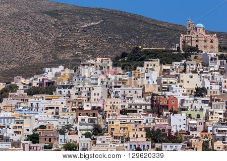 Amazing Panorama to town of Ermopoli, Syros, Cyclades Islands, Greece